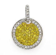 Real 0.69ct Natural Fancy Vivid Yellow Diamonds Pendant Necklace 18k Solid Gold
