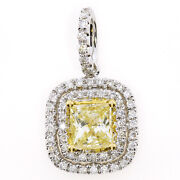 Real 1.00ct Natural Fancy Yellow Diamonds Pendant Necklace 18k Solid Gold