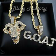 Hip Hop Iced Gold Plated Goat And G.o.a.t Pendant And 4mm 24 Rope Chain Necklace