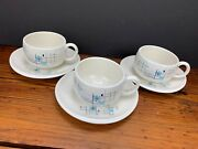 Mid-century Set Of 3 Franciscan Oasis Atomic Stoneware Cups And Saucers 3