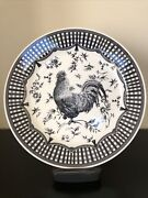 4 Queen's Rooster Black Dinner Plates Made In Colombia