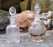 Clear Glass Perfume Bottles Stoppers 2 Pieces Vintage Round And Rectangle Empty