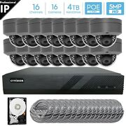 16 Channel 4k 8mp Poe Nvr 16x5mp Hd Ip Dome Camera Cctv Security System 4tb