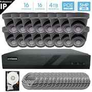 16 Channel 4k 8mp Poe Nvr 16x5mp Hd Ip Turret Camera Cctv Security System 4tb