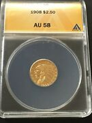 1908 2.5 Indian Head Gold Coin
