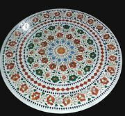 36 Inches Coffee Table Top Round Marble Office Table Hand Inlaid Gemstones Work