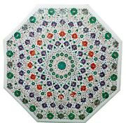 42 Inches Marble Utility Table Top Hand Inlaid Dining Table With Multi Gemstones