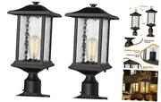 Outdoor Post Lights   2 Pack Exterior Pillar Lantern Pole Lamp With 3 2 Pack