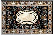 36 X 60 Inches Black Marble Dining Table Top Antique Work Restaurant Table Top