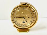 Looping Of Switzerland 5 Function Brass Table / Mantel Clock 1960and039s Perfect Cond