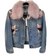 Coach Quilted Patchwork Denim Jacket Size 0 Detachable Collar Blue Pink Fitted