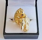 9ct 375 Yellow Gold 2 Horse Ring Fancy Detail Large Piece 25g 2018 Hallmark