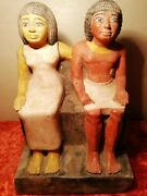 Ancient Egyptian Limestone Statues Of High Official Katep And Wife Hetepheres