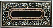30 X 60 Inches Vintage Craft Marble Meeting Table Top Black Royal Dining Table