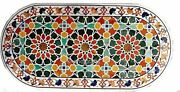 30 X 60 Inch Marble Dining Table Top Inlay Reception Table With Geometrical Art
