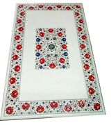 30 X 60 Inches Marble Office Table Inlay With Carnelian Stone Art Dining Table