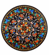 48 Inches Marble Lawn Table Top Hand Inlaid Kitchen Table With Gemstones Art