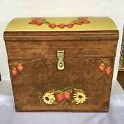 """Vintage Hand Painted 1970s Signed Dated Wooden Trunk Hope Chest Strawberries 15"""""""
