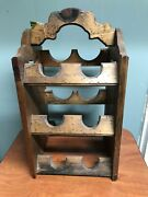 Rustic Wood Wine Rack Country Farmhouse