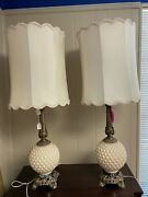 Vintage Lighting Rembrandt Tall Table Lamps With Antiqued Gold Base Ivory Shades