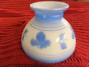 Hurricane Painted Milk Glass W/blue Flowers Oil Lamp Shades A Matching Pair