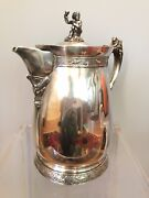 Antique Meriden Silver Plate Ice Water Pitcher Jug Wine Toasting Putti Finial