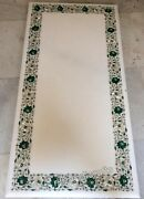 24 X 60 Inches Marble Patio Table Top Hand Inlaid Coffee Table With Gemstone Art