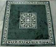 36 Inches Marble Dining Table Top Green Office Table Hand Crafted For Business