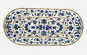24 X 60 Inches Marble Hallway Table Top Inlay Dinning Table Lapis Lazuli Stone