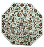 42 Inches Marble Dining Table Top Inlay With Carnelian Gemstones Hallway Table