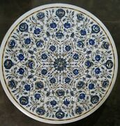 Vintage Art From India Marble Center Table Round Elegant Coffee Table 24 Inches