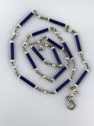 Antique Blue And White Enamel Chain With Natural Pearls 18ct And Platinum