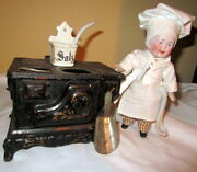 Antique German Doll House Doll Cook With Cast Iron Stove /salt Container