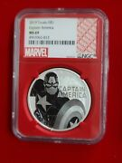 2019 Marvel Captain America Ngc Ms 69 1 Oz Silver ☆1 Coin From Lot☆