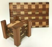 Handmade Cheese Board And Coaster Set With Coaster Holder
