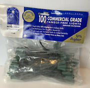Set Of 100 Clear Commercial Grade Christmas Lights Green Wire String Bethlehem