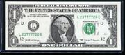 2017 1 Federal Reserve Note Fancy Four In A Row Serial L23777720e Uncirculated