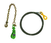 2 Ton Snatch Block And 3/8 X 50' Steel Core Winch Cable Swivel Self Locking Hook