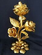 Great Vintage Wrought Iron 5lb Rose Sculpture Gold Painted Salvaged Centerpiece