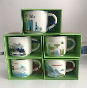 5 New Starbucks Ornament Mugs You Are Here Collection 2oz - Discontinued