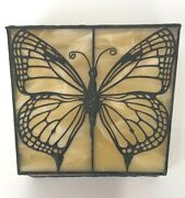 Stained Glass Box W/ Butterfly Design Amber And Cream Color Clear Prism Cut Sides