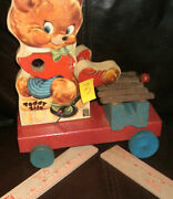 Vintage Toy 1950's Teddy Zilo Wood Fisher Price Pull Toy 3.