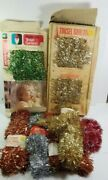 7 Vtg Christmas Garland Tinsel Red Gold Blue Metalized Plastic Outdoor Indoor
