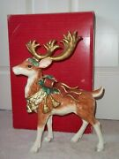 Rare Retired Fitz And Floyd Classic 17andrdquo Standing Christmas Reindeer W/ Box
