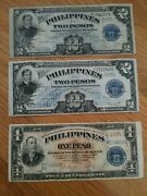 Philippines Paper Money Victory-one Two Peso Banknotes 1940s Blue Seal Bill Us