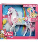 Barbie Dreamtopia Brush And039n Sparkle Unicorn With Lights And Sounds - New