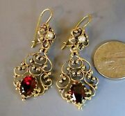 Pair Of 14k Yellow Gold Garnet And Seed Pearl Victorian Dangle Style Earrings