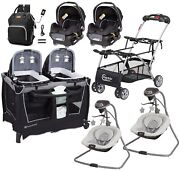 Double Stroller Frame With 2 Car Seats 2 Swings Infant Nursery Crib Baby Combo