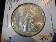 1934-d Walking Half Mint State Thumb And Fingers Show +++++