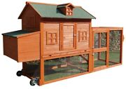 Magbean 98 Wheel Solid Wood Chicken Coop Backyard 4-6 Chickens With Nesting Box